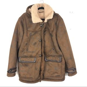 BLACK RIVERT Sherpa lined faux leather jacket